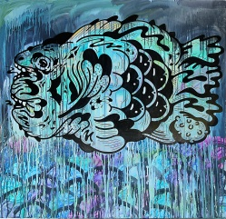 Gabriel Tiongson 1 Nutted Fish acrylic on board 121x121 cm © March 2015