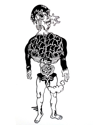 Gabriel Tiongson Pea Brain ink on paper © 2011